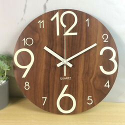 12#x27;#x27; Modern Large Luminous Quartz Wall Clock Non ticking Glow In The Dark Silent
