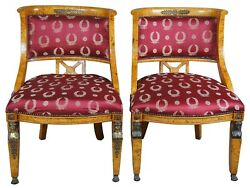 2 Antique Egyptian Revival Olive Burlwood Parlor Chairs Neoclassical