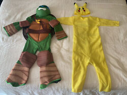 2 Kids Costumes Teenage Mutant Ninja Turtle and Pikachu. Unisex Size Small