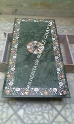 5and039x3and039 Marble Green Dining Living Table Top Precious Inlay Furniture Decor H1977a