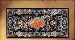 5and039x3and039 Black Marble Dining Hallway Table Top Marquetry Inlay Living Decor H4924