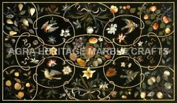 5and039x3and039 Contemporary Marble Top Dining Table Inlay Bird Floral Work Decor H5098a