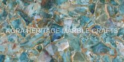 5'x3' Marble Top Center Dining Table India Golden Line Inlay Design Decor H4968a