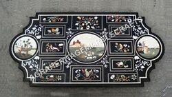 5and039x3and039 Marble Dining Center Table With Black Top Floral Bird Inlaid Design E832a
