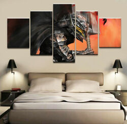 Anime Berserk Warrior Poster Canvas Prints Painting Wall Art No Frame 5 Pieces