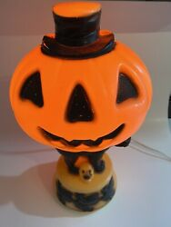 Vintage Empire Pumpkin Witch Black Cat Top Hat 14 Table Top Blow Mold A1635