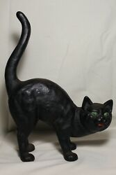 Antique Cast Iron Black Cat w Green Eyes Door Stop