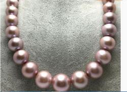 Huge 1813-17mm Natural South Sea Genuine Gold Pink Round Pearl Necklace 888aaa