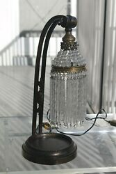 C1920and039s Designer French Art Deco Bronze W/ Crystal Shade Table Lamp -adjustable