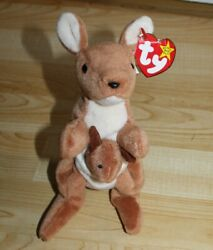 Retired Ty Beanie Baby Pouch The Kangaroo 1996 Very Good Cond