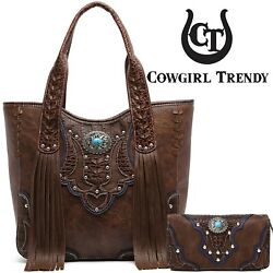Western Style Cowgirl Tote Fringe Handbag Women Conceal Carry Purse Wallet Brown