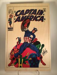 Signed Stan Lee, Captain America 111, Limited Edition Wooden Print 19/300 W/coa