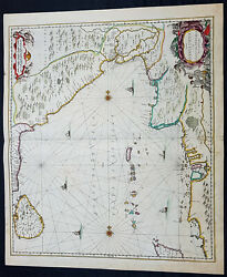 1650 Jan Jansson Large Rare Antique Map Of India, Sri Lanka And The Bay Of Bengal