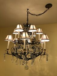 Vintage 12-light Candle Style Traditional Chandelier W/crystal And Gilt Metal