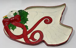 """Silvestri Vintage Paper Mache Tray Christmas 22""""x14"""" 3d Goose Signed Thailand"""
