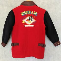 Mickey amp; Co DISNEY Leather Collection Wool Embroidered Coat Jacket Boys Size 6 $68.99