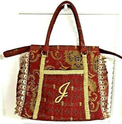 Tapestry Sewing Notion Needlecraft Knitting Carpet Bagger Red Gold Bag Initial J