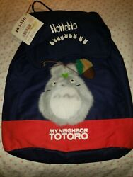 My Neighbor Totoro Blue/red Canvas Backpack With 3d Totoro Plush Logo Rare