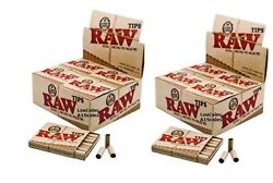 2x Full Box Raw Prerolled Tips Natural For Cigarette Rolling Paper 40 Pks Total