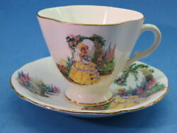Teacup And Saucer, Tea Cup Clarence Bone China Yellow Dress Lady From England