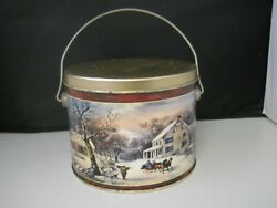 Vintage Cookie Tin Nostalgic Country Winter Farm Horse Sled Scene With Handle