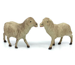 Antique Celluloid Sheep X 2 Farm Toy Figures C1930s Marked France Hollow Fragile