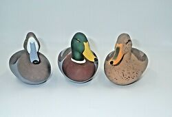 Vintage Charles Jobes Signed Wood Duck Decoys Set Of 3 Mallard 1988 And 1992