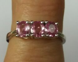 Pink Sapphire Ring, 9ct White Gold - Size M .lively And Fab Colour Hallmarked New