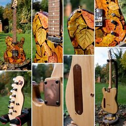 Telecaster Electric Guitar Hand Carved Autumn Leaves