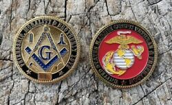 Masonic Us Marine Corps Veteran Limited Edition Challenge Coin - Ind. Numbered