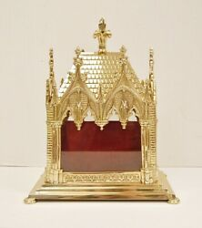 Large Ornate Polished Brass Reliquary Shrine - Relic House For Your Relic 19