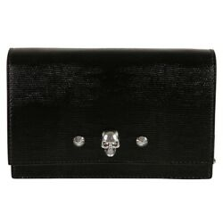 Alexander Mcqueen Black Small Skull Crossbody Bag With Silver Chain Straps Nwt
