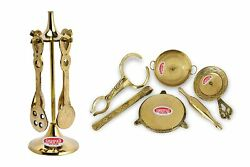 Steel Home Miniature Brass Combo Of Spoon Set + Kitchen Set Toy.