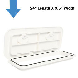Marine Deck Access Hatch And Lid With Lock White 24 Length X 9.5 Width Us Ship