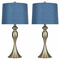27 Curvy Gold Plated Table Lamps W/ Moroccan Blue Textured Linen Shades 2-pk