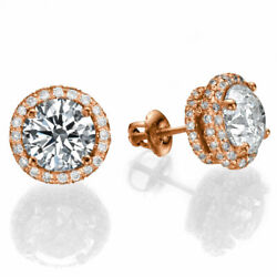 Sparkling 14kt Rose Gold Round Cut Diamond Stud Earrings 2.00 Ct H/si2