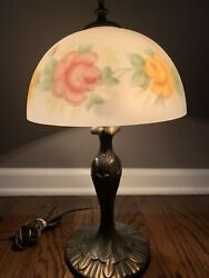 """Antique Reverse Painted Glass Lamp Roses W/ Cast Iron 17.5"""" Tall"""