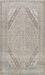 Muted Semi Antique Hamedan Hand-knotted Area Rug Distressed Evenly Low Pile 7x10