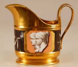 Antique French Empire Porcelain Gilded 19th C Sevres Style Creamer Hand Painted
