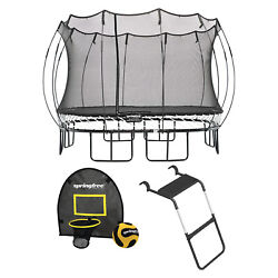 Springfree Outdoor Square 13 Foot Trampoline Enclosure Hoop Game And Ladder