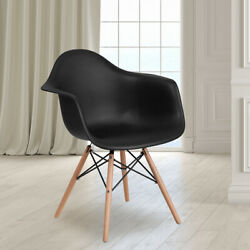 Navy Plastic Chair With Arms And Wooden Legs - Accent And Side Chair