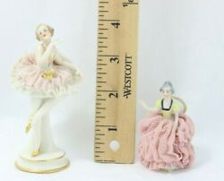Vintage Dresden German Porcelain Figurines Ballerina And Sitting Lady In Pink Lace