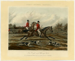 6 Antique Prints-cross Country-horses-foreand039s Hunting Sketches-alken-harris-1859