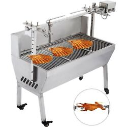 132lbs 25w Large Stainless Steel Bbq Pig Lamb Chicken Spit Roaster Rotisserie