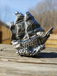 Pirate Ship Hand Pour 999 Fine Silver. Antiqued 6.75+ Ozt 999 Fime Silver