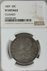 1809 50c Ngc Vf Details, Cleaned. 1800's Capped Bust Half Dollar, Miss Liberty
