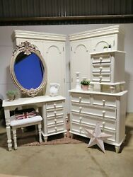 Country Style Bedroom Set Chest Of Drawers Dressing Table Mirror Stool Wardrobe