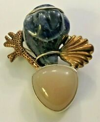 Amy Khan Russell Carved Seashell Agate Gemstone Sterling Silver Pin Pendant Akr