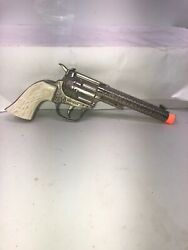 Vintage Hunley Rodeo Cap Gun With White Wood Grain Grips Nice Condition