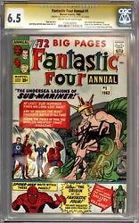 Fantastic Four Annual 1 Cgc 6.5 Signature Series Signed Stan Lee Dick Ayers